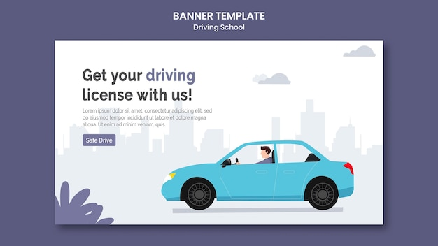 Driving school banner template