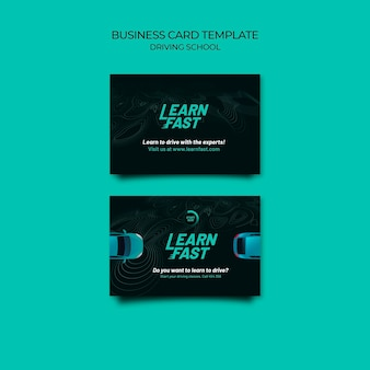 Driving school business card template