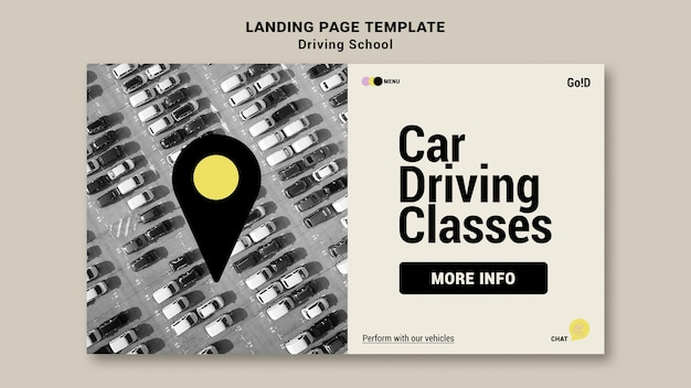 Driving school landing page design template