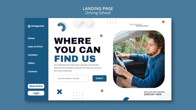 Driving school landing page template