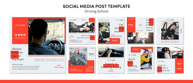 Driving school social media post template