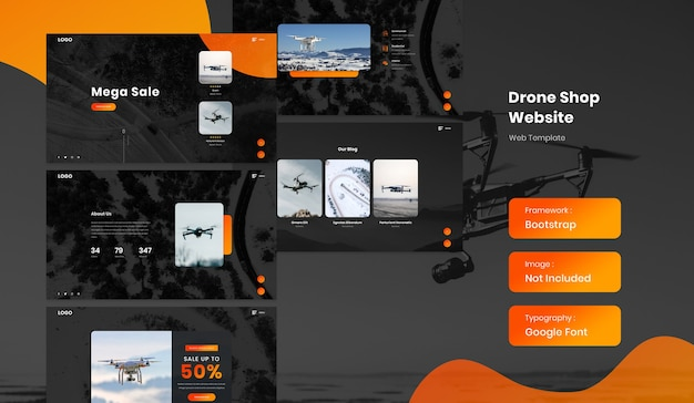 Drone online shop ecommerce website template in full page