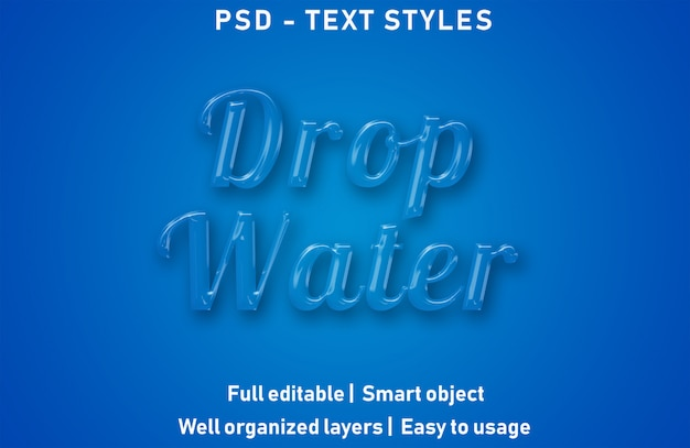 Drop water text effects style editable psd