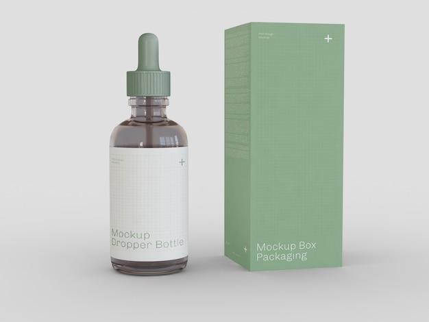 Бутылка с капельницей и макет упаковки Premium Psd