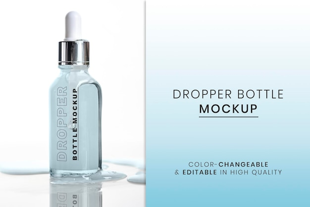 美容とスキンケアにすぐに使えるスポイトボトルモックアップpsd