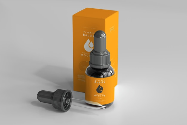 Dropper bottle mockup with box