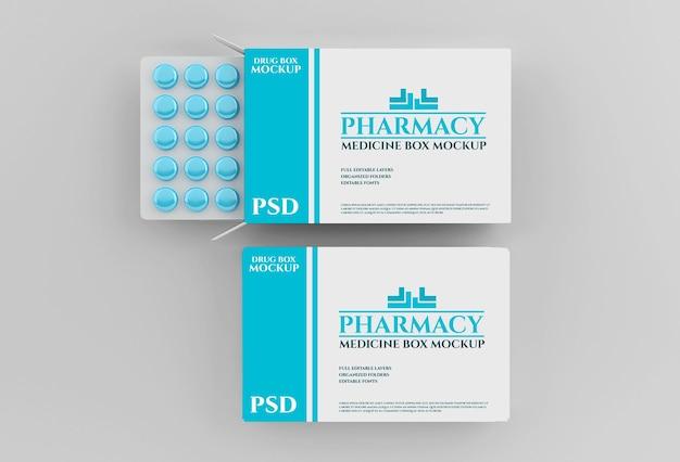Макет коробки с лекарствами с таблетками в аптеке