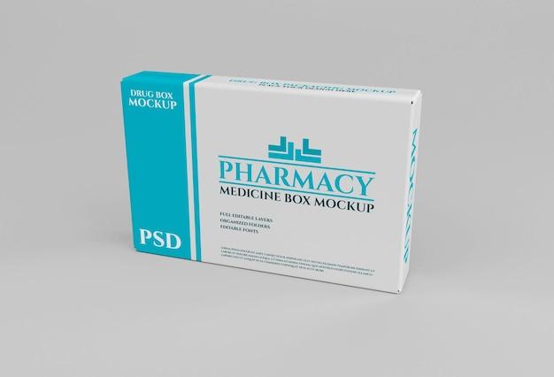 薬局コンセプトのドラッグボックス包装モックアップ