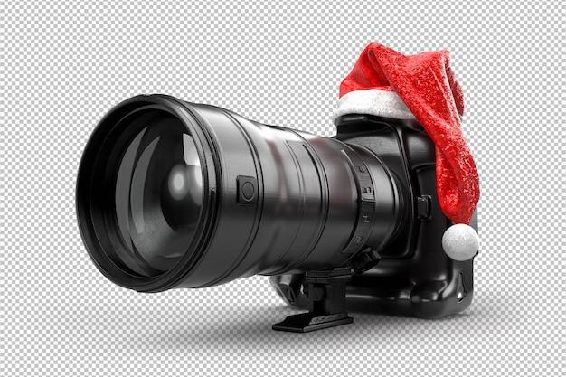 산타 클로스의 빨간 크리스마스 모자에 dslr 카메라. 3d 렌더링