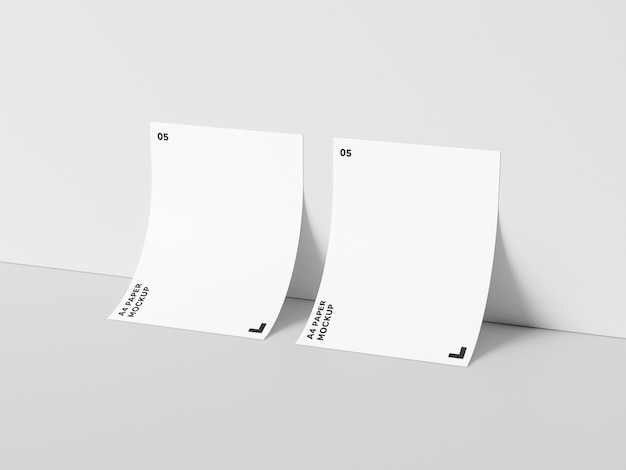 Dual a4 paper against wall mockup
