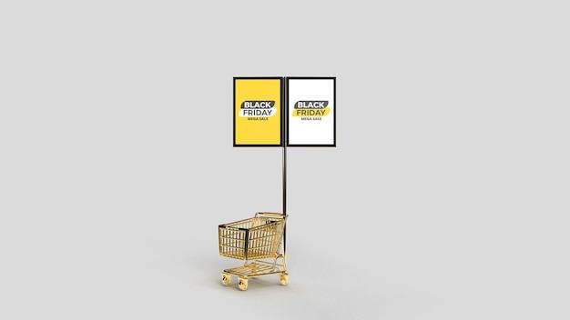 Макет рекламного столба с двумя улицами и тележкой с 3d-рендерингом