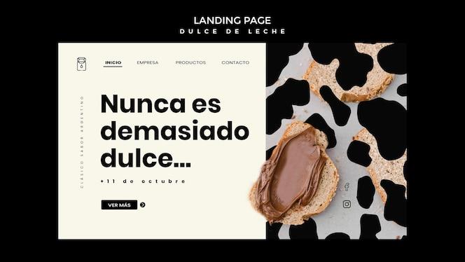 Dulce de leche concept landing page template
