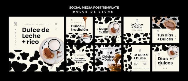 Modello di post social media concetto dulce de leche