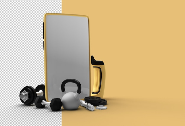 Dumbbell and barbell mobile template. transparent psd file.