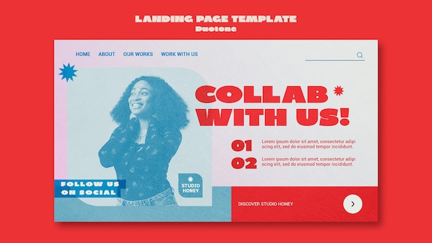 Duotone business landing page template