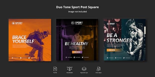 Duotone sport социальные медиа instagram пост или квадратный флаер шаблон