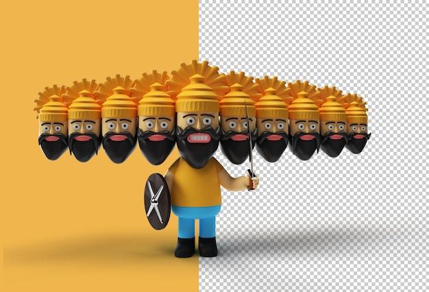 Dussehra celebration - 칼과 방패가 있는 10개의 머리가 있는 라바나
