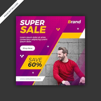 Динамичные современные социальные медиа instagram пост-баннер продаж