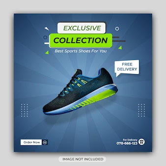 Dynamic sports shoes winter sale social media banner or instagram post template