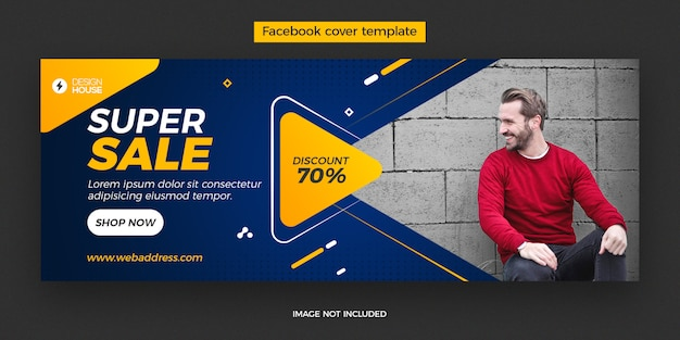 Dynamic super sale facebook cover post template