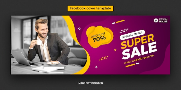 Dynamic super sale facebook cover post template
