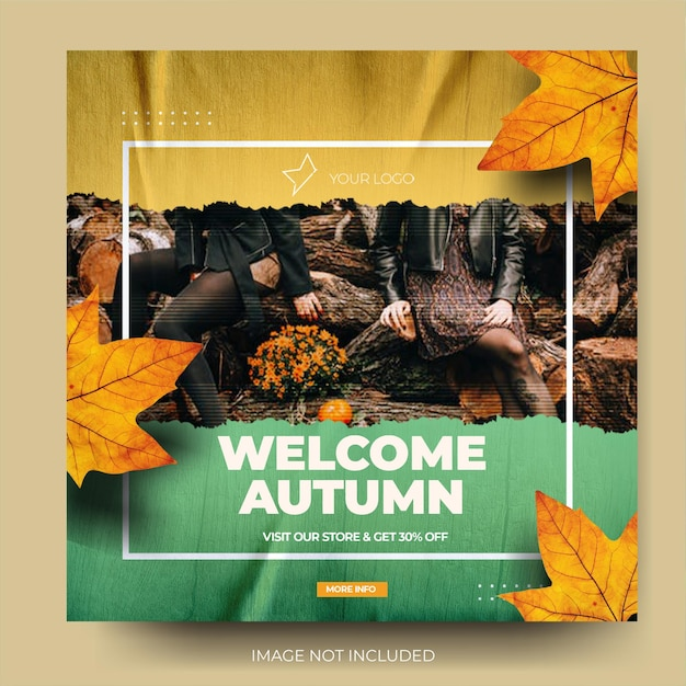 ダイナミックなツートンカラーの秋のファッションセールinstagramソーシャルメディアポストフィード