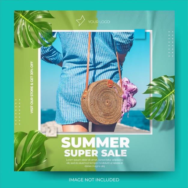 동적 투톤 여름 패션 판매 배너 인스 타 그램 포스트 피드
