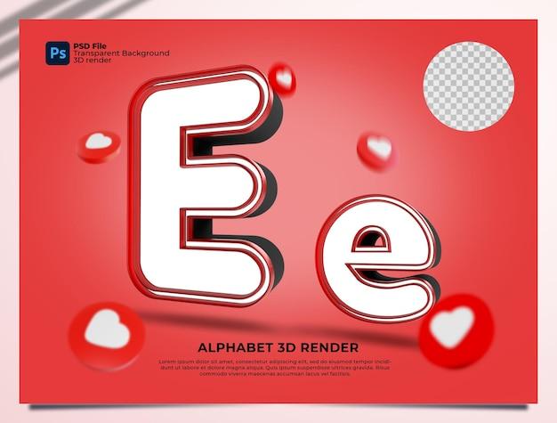E 알파벳 3d 렌더링 요소와 붉은 색