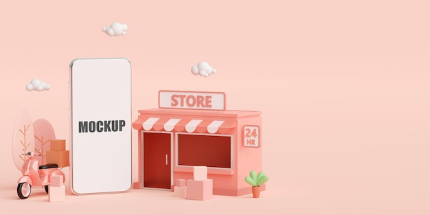 E-commerce concept store shopping online and delivery service