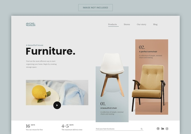 Целевая страница мебели для электронной коммерции