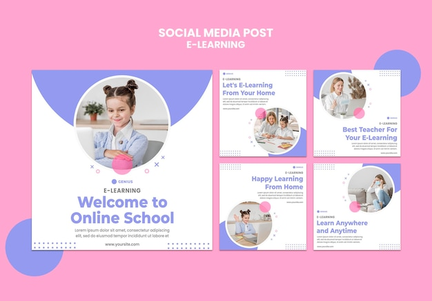 E-learning ad social media post template