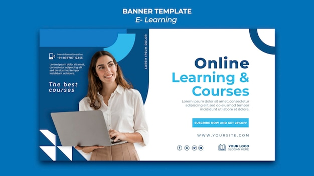 E-learning banner design template