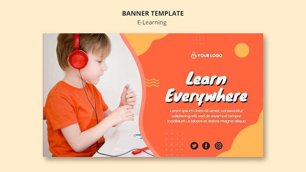 E learning banner template concept