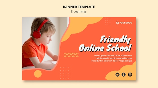 E learning banner template theme