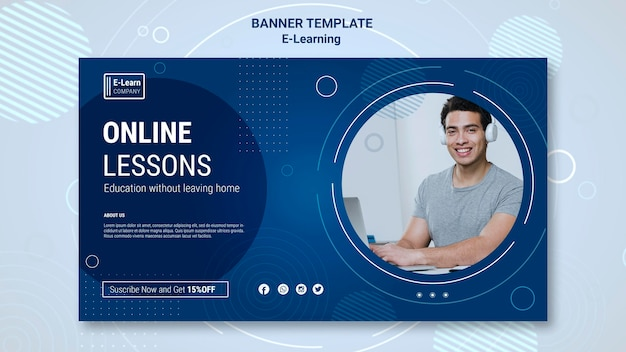 E-learning concept banner template