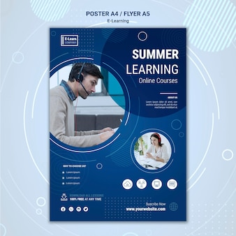 E-learning concept flyer template