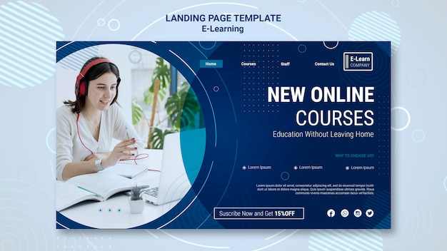 E-learning concept landing page template