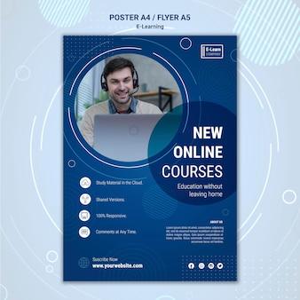 Шаблон плаката концепции электронного обучения