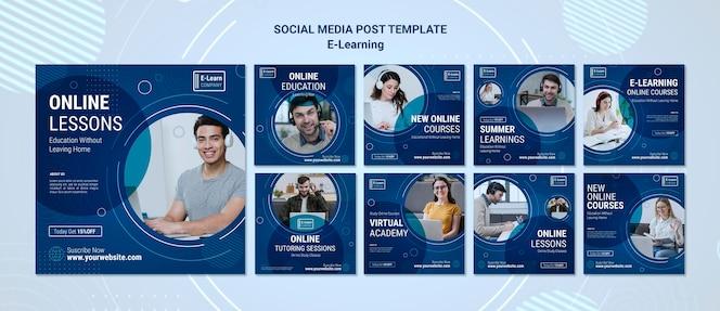 Eラーニングの概念のソーシャルメディアの投稿テンプレート