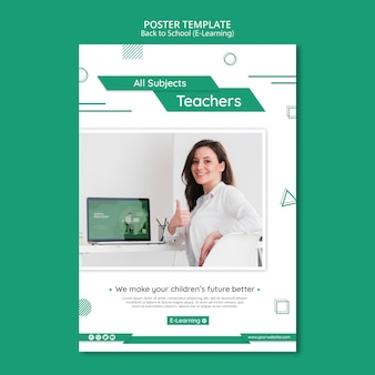 E-learning flyer template with photo