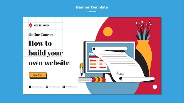 E-learning horizontal banner template design