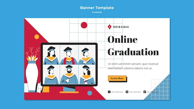 E-learning horizontal banner template style