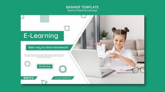 Электронное обучение горизонтальный баннер шаблон с фотографией