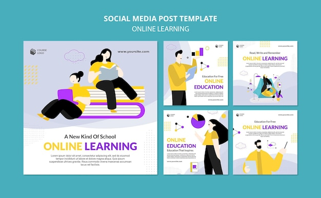 E-learning instagram posts template illustrated