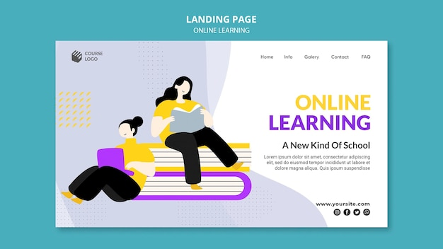 E-learning landing page template illustrated