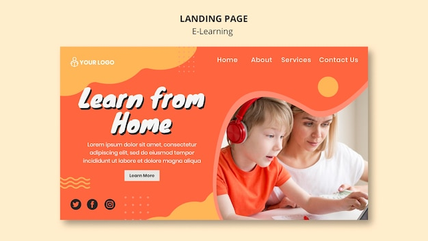 E learning landing page theme