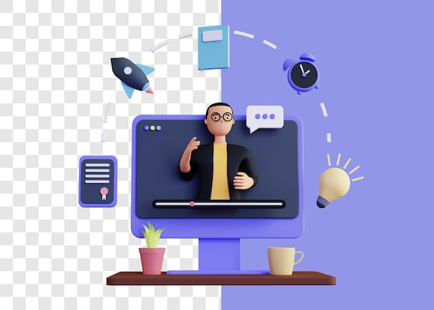 전자 학습 또는 전자 학습 3d 그림 개념