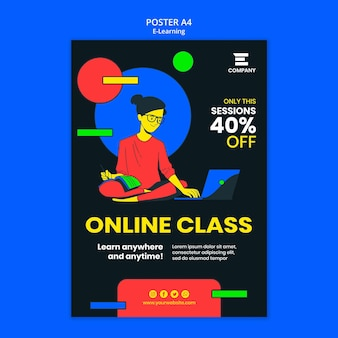 E-learning platform with discount poster