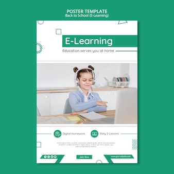 E-learning poster template with photo