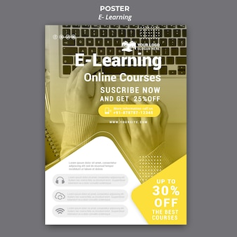 Шаблон плаката электронного обучения